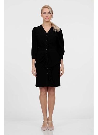 Vitrin Önden Düğmeli Volan Detaylı Elbise Siyah